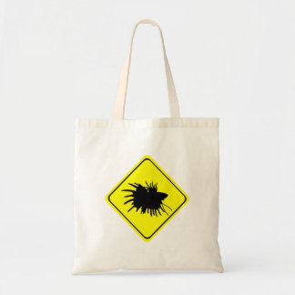 Male Betta Fish Silhouette Caution Crossing Sign Budget Tote Bag
