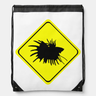 Male Betta Fish Silhouette Caution Crossing Sign Drawstring Backpack