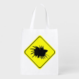 Male Betta Fish Silhouette Caution Crossing Sign Grocery Bag