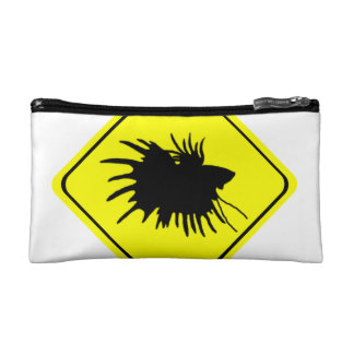 Male Betta Fish Silhouette Caution Crossing Sign Makeup Bag