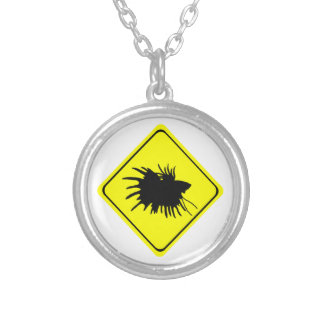 Male Betta Fish Silhouette Caution Crossing Sign Necklace