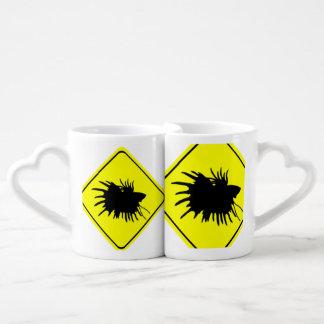 Male Betta Fish Silhouette Caution Crossing Sign Couple Mugs