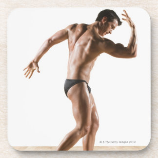 Male body builder flexing and posing 2 drink coaster