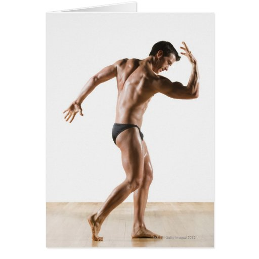 Male body builder flexing and posing 2 greeting card