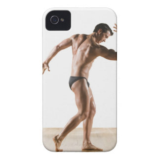Male body builder flexing and posing 2 iPhone 4 Case-Mate case