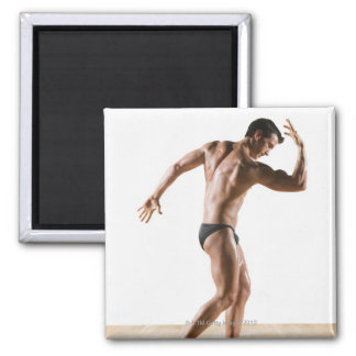 Male body builder flexing and posing 2 refrigerator magnet