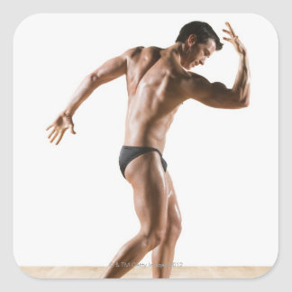 Male body builder flexing and posing 2 square sticker