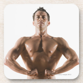 Male body builder flexing and posing beverage coaster