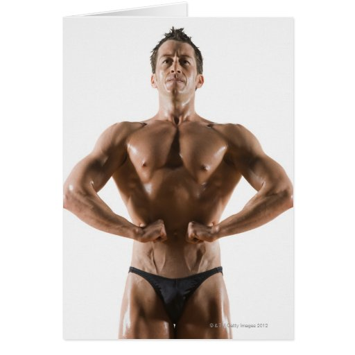 Male body builder flexing and posing card