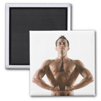 Male body builder flexing and posing refrigerator magnet
