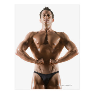 Male body builder flexing and posing postcard