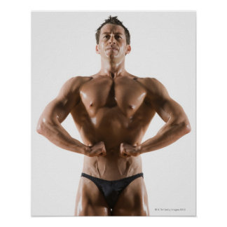 Male body builder flexing and posing poster