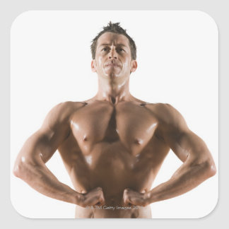 Male body builder flexing and posing square sticker