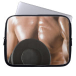 Male body builder flexing lifting weight laptop computer sleeve