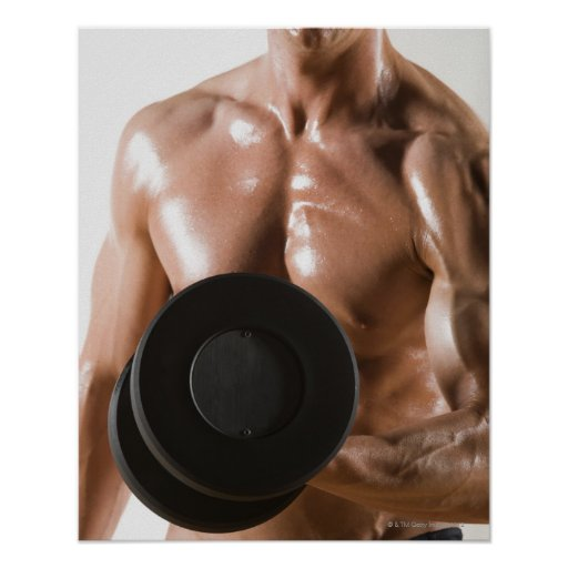 Male body builder flexing lifting weight print