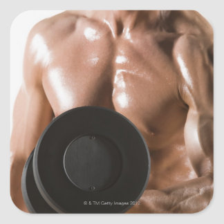 Male body builder flexing lifting weight square sticker