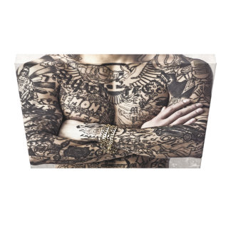 Male Body Tattoo Photograph Canvas Print