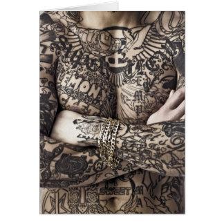 Male Body Tattoo Photograph Card
