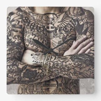 Male Body Tattoo Photograph Square Wallclock