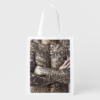 Male Body Tattoo Photograph Grocery Bag