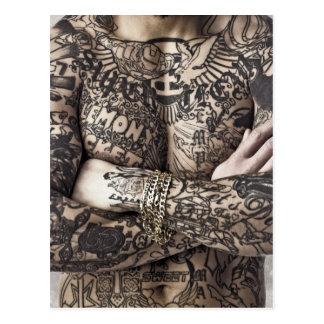 Male Body Tattoo Photograph Postcard