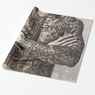 Male Body Tattoo Photograph Sheets Wrapping Paper