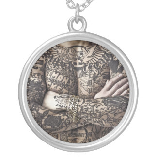 Male Body Tattoo Photograph Silver Plated Necklace