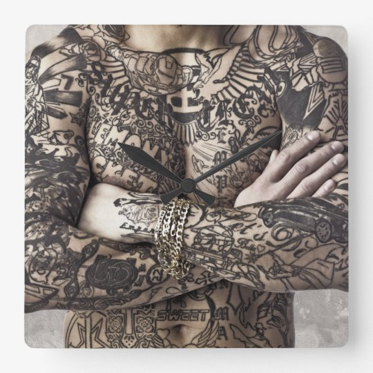 Male Body Tattoo Photograph Square Wall Clock