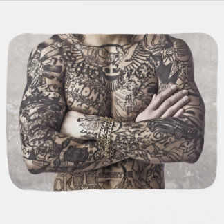 Male Body Tattoo Photograph Stroller Blanket