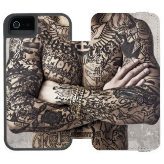 Male Body Tattoo Photograph Wallet Case For iPhone SE/5/5s