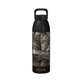 Male Body Tattoo Photograph Reusable Water Bottles