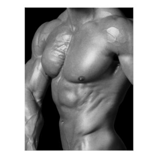 Male Bodybuilder Chest Flex Poster