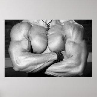 Male Bodybuilder Chest Flexing Poster