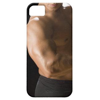 Male bodybuilder flexing muscles, front view, 2 iPhone SE/5/5s case
