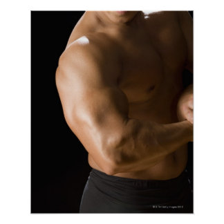 Male bodybuilder flexing muscles, front view, 2 poster