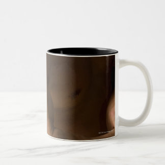 Male bodybuilder flexing muscles, front view, 2 Two-Tone coffee mug