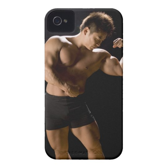 Male bodybuilder flexing muscles, front view, iPhone 4 case