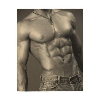 Male Bodybuilder In Jeans Wood Wall Decor