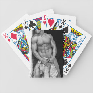 Male Bodybuilder Playing Cards