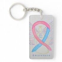 Male Breast Cancer Angel Awareness Ribbon Keychain