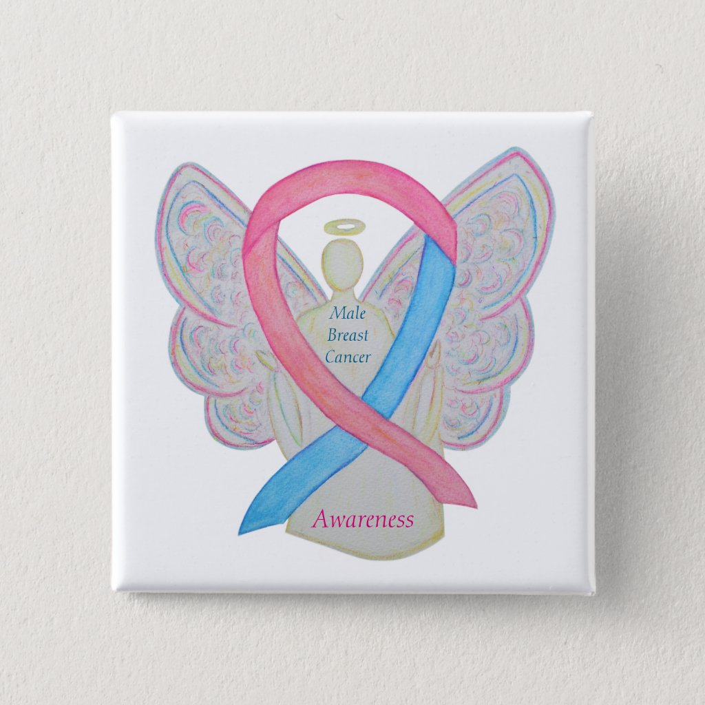 Male Breast Cancer Angel Pink and Blue Awareness Ribbon Custom Pins