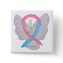 Male Breast Cancer Angel Pink Awareness Ribbon Pin