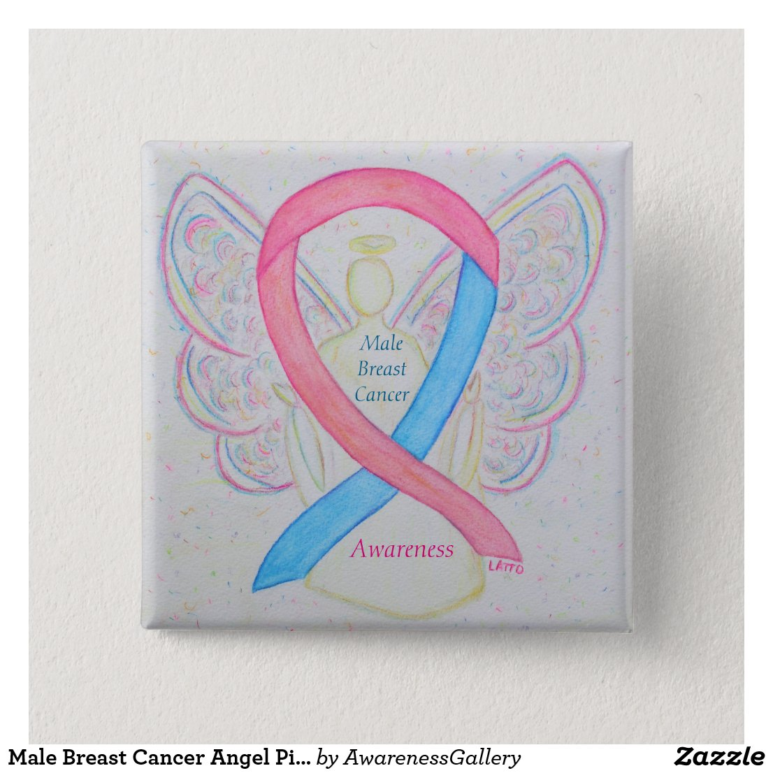Male Breast Cancer Angel Blue and Pink Awareness Ribbon Pin