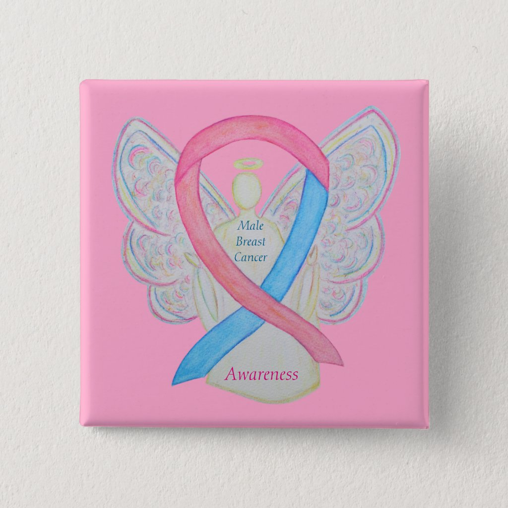 Male Breast Cancer Angel Pink and Blue Awareness Ribbon Pin