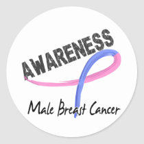 Male Breast Cancer Awareness 3 Classic Round Sticker