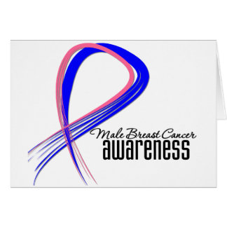 Male Breast Cancer Awareness Grunge Ribbon Greeting Card