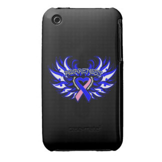Male Breast Cancer Awareness Heart Wings Case-Mate iPhone 3 Cases