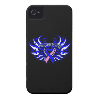 Male Breast Cancer Awareness Heart Wings Case-Mate iPhone 4 Cases