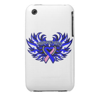 Male Breast Cancer Awareness Heart Wings iPhone 3 Cover