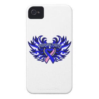 Male Breast Cancer Awareness Heart Wings iPhone 4 Case